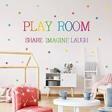 Amazon Com Playroom Share Imagine Laugh Wall Art Colorful Inspirational Lettering Quote With Stars Wall Decal Sticker For Nursery Classroom Playroom Decoration 1 Play Room Baby
