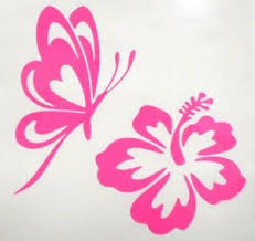 Butterfly Hibiscus Flower Car Window Vinyl Decal Sticker Choose 12 Colors Ebay