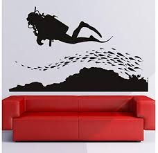 Amazon Com Diver Decal Fish Decal Scuba Diving Decal Beach House Decals Diver Decor Diver Wall Art Diver Large Sticker Tr1556 Home Kitchen
