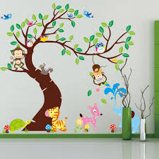 Fashion Cute Owl Monkey Lion Elephant Cartoon Wall Stickers For Kids Rooms Home Decoration Diy Removable Wall Decal Cute Home Decor Olivia Decor Decor For Your Home And Office