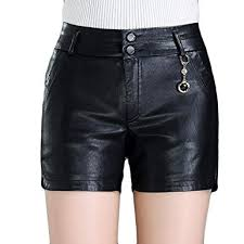 classic faux pu leather shorts