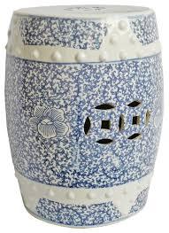 blue white ceramic garden stool