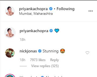 "Image result for Nicjk Jonas comment on Priyanka blue saree"""