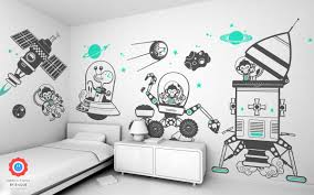 Space Vehicle Wall Decal Baby Kids Wall Decals E Glue Children Room Wall Decor