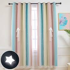 Amazon Com Hughapy Star Curtains Stars Blackout Curtains For Kids Girls Bedroom Living Room Colorful Double Layer Star Cut Out Stripe Window Curtains 1 Panel 52w X 84l Pink Blue Home