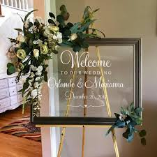 Personalized Welcome Sign Wedding Decal Custom Groom Bride Names Creative Mirror Decals Wedding Board Vinyl Lettering Lc1269 Wall Stickers Aliexpress