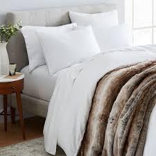 belgian linen faux fur styled bedding set