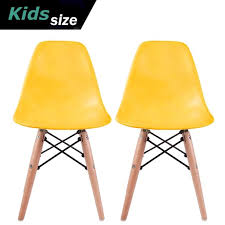 2xhome Set Of 2 Yellow Toddler Kids Size Plastic Side Chair Black Seat Natural Wood Wooden
