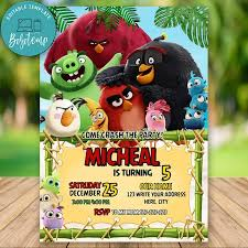 Editable Angry Birds 2 Movie Birthday Invitation Instant Download ...
