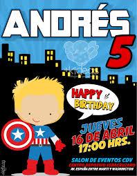 Capitan America Boy Invitaciones Infantiles Invitaciones De
