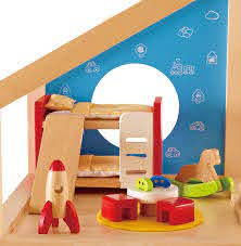 Amazon Com Hape Wooden Doll House Furniture Children S Room With Accessories Toys Games