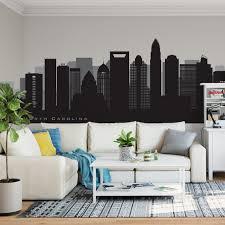 Charlotte North Carolina Landmarks Skyline Wall Decal Art Etsy