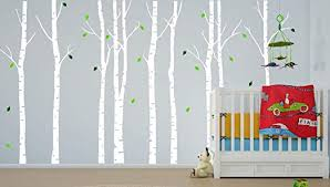Amazon Com Birch Tree Wall Decal Nursery Forest Vinyl Sticker Removable Animals Branches Art Stencil Leaves 9 Trees 1263 Custom Contact Us 108 9ft Tall Home Kitchen