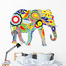 Silhouette Elephant With Indian Wall Decal Wallmonkeys Com