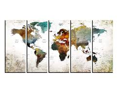 Amazon Com Large Wall Art Travel Map On Multi Panel Canvas Print For Large Wall Map Wall Decal World Map To Pin Large Canvas Wall Art Hr136 Handmade
