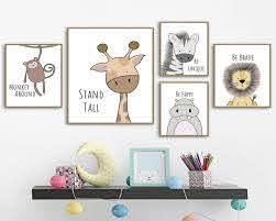 Nursery Wall Art Canvas Painting Nordic Posters And Prints Wall Pictures Baby Kids Room Decor By Af Animal Wall Art Nursery Nursery Canvas Art Nursery Wall Art