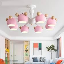 Nordic Kids Room Chandelier Multicolor Macaron Wood Led Hanging Lamp Modern For Bedroom Chandelier Children Rooms Decor Fixtures Chandeliers Aliexpress