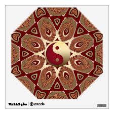 Red Earth Gold Yin Yang Feng Shui Hexagon Mandala Wall Decal Zazzle Com