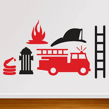 Wall Decal Fireman Fire Truck Decal Db205 Etsy In 2020 Silhouette Crafts Fire Trucks Silhouette Stencil