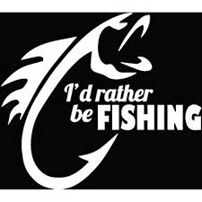 I D Rather Be Fishing Decal Sticker 5 5 Inches White Vinyl Decal Walmart Com Walmart Com
