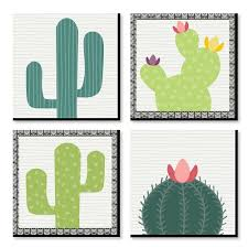 Prickly Cactus Party Kids Room And Home Decor 11 X 11 Inches Wall Art Set Of 4 Prints For Home Decorations Bigdotofhappiness Com