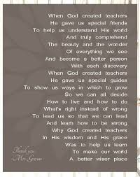 christian personalized teachers canvas gift poem when god created