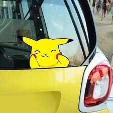 Pokemon Pikachu Make Face Smile Climb Window Hit Glass Wall Decals Car Stickers Pikachu Car Stickers Pikachu Pokemon Go