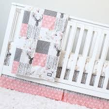 woodland nursery girl crib bedding