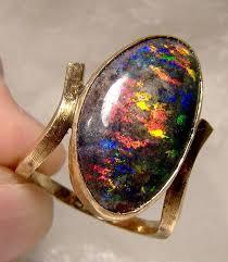 14k australian black opal ring 1960s