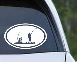Kayak Tandem Fishing Euro Oval Die Cut Vinyl Decal Sticker Decals City