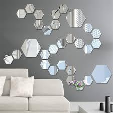 12pcs 3d Mirror Wall Stickers Hexagon Vinyl Removable Wall Sticker Decal Home Decor Art Diy Hot Leather Bag