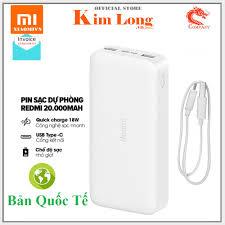 Pin sạc dự phòng Xiaomi 20000mAh Gen 2C | Redmi 20000Mah 18W ( Tùy chọn ) -  Hàng chính hãng DGW