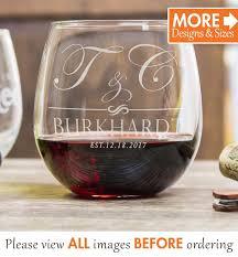 initials wine glasses stemless wine