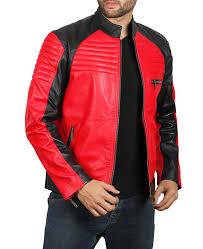 mens biker red and black leather jacket