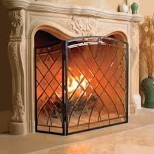 victoria beveled glass fireplace screen