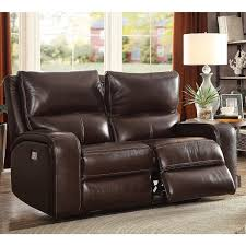 zach 2 seater brown leather power