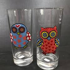 Dining Highball Cylinder Glasses Hippie Owl Decal 7oz Poshmark