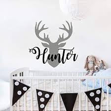 Amazon Com Personalized Boy Name With Deer Antlers Wall Decal Nursery Deer Head Wall Vinyl Sticker Rustic Nursery Wall Decor Baby Name Hunting Themed Woodland Wall Decor Custom Name Wall Decals For Boys