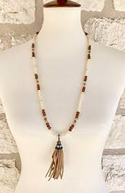 leather tassel beaded necklace