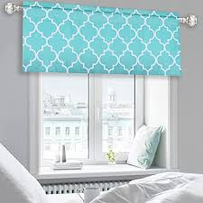 Amazon Com Keqiaosuocai Moroccan Tile Print Valance Curtains Room Darkening Blackout Valance For Dining Living Room Bathroom Kids Boys Room Windows With Rod Pocket 52 By 18 Inch Length 1 Panel Turquoise Furniture