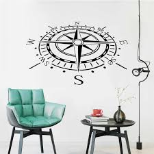 Compass Vinyl Decal Sticker Car Boat Window Wall Nautical Sailing Anchor Ship 3d Wall Stickers Home Decor Living Room Art C 10 Mural Art Wall Stickers Mural Stickermural Wall Aliexpress