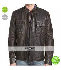 lucky brand ace black men leather jacket