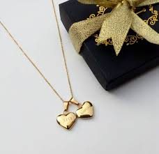 gold double heart pendant necklace