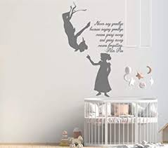 Amazon Com Peter Pan Cartoon Never Grow Up Wall Decal Sticker Ship Pirate Kids Children Boys Nursery Bedroom 1488b Baby