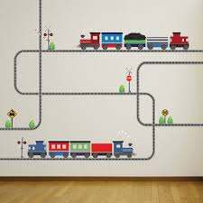2 Freight Car Train Wall Decal W Railroad Track Straight And Etsy In 2020 Wall Decals Fabric Wall Decals Boys Decal