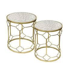 gold trellis glass end table set