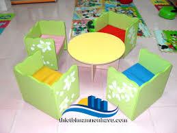 Bộ bàn ghế thư viện bàn tròn ghế vuông | Mầm non, Đồ chơi, Trang trí