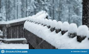 Snow Covered Fence Row Stock Photo Image Of Creek Earth 179818786