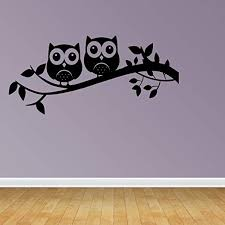 Amazon Com Zixinruies Owl On Tree Branch Wall Decal Nursery Wall Decals Owl Wall Stickers Owl Silhouette Home Kitchen