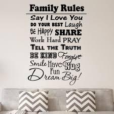 Vwaq Family Rules Vinyl Wall Decal Inspirational Quote Home Decor Family Wall Art Saying Walmart Com Walmart Com